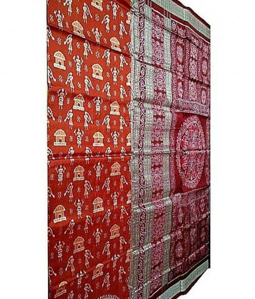 Rust Tribal Sambalpuri Silk Saree