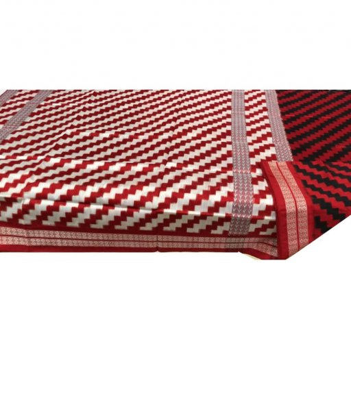 Red & White Sambalpuri Silk Saree