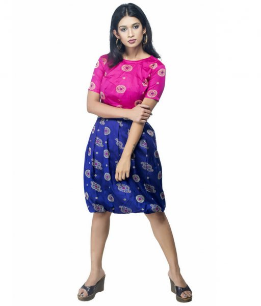 Set Of Ikat Baloon Skirt & Crop Top