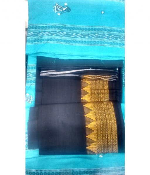 Sky & Black Sambalpuri Suit Piece