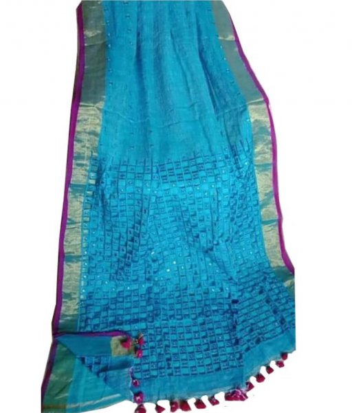 Sky Linen Cut Work Saree