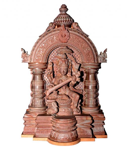 Stone Carved Goddess Saraswati Idol