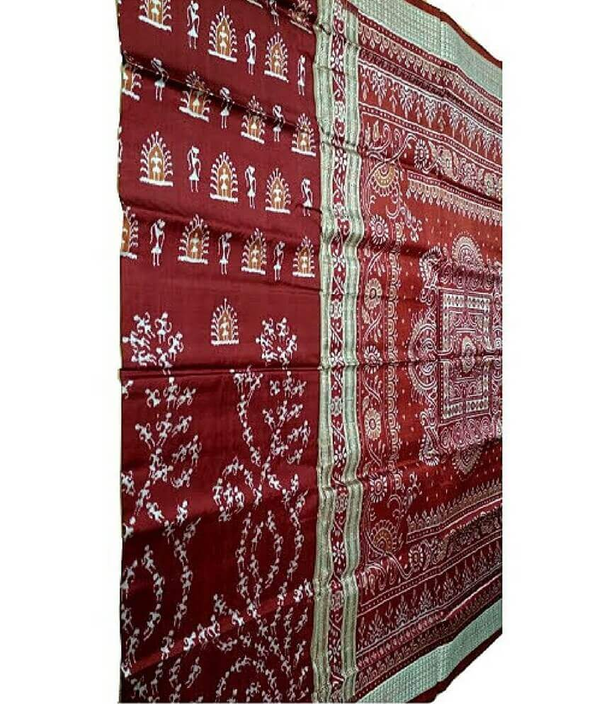 Tribal Maroon Sambalpuri Silk Saree
