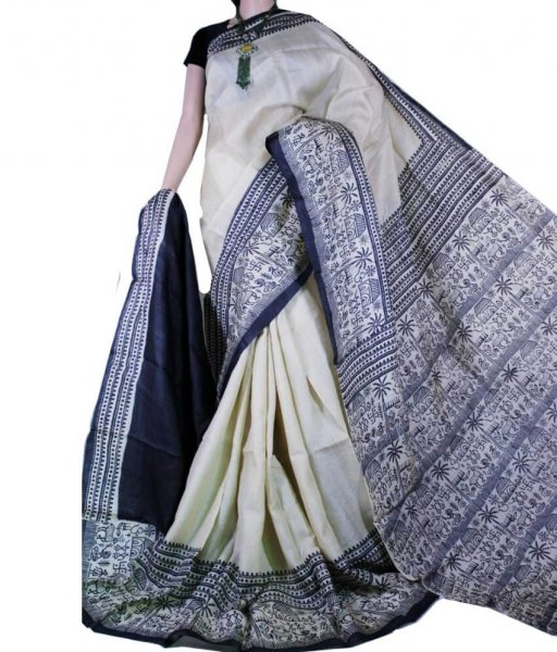 Tribal painted Bishnupuri Silk Saree
