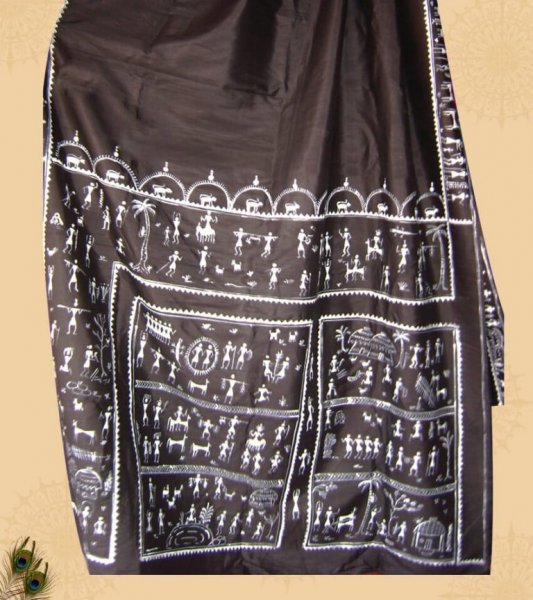 Tribal Painting Pattachitra Silk Saree
