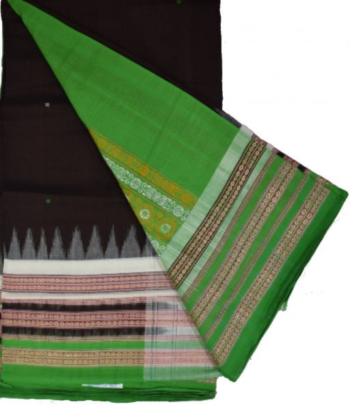 Brown Bomkai Cotton Triple border Saree