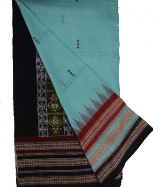 Sky Bomkai Cotton triple border Saree