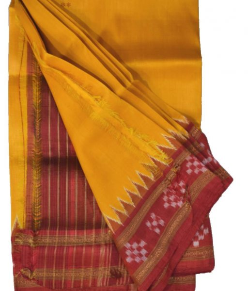 Yellow Khandua SIlk Pasapali border Saree