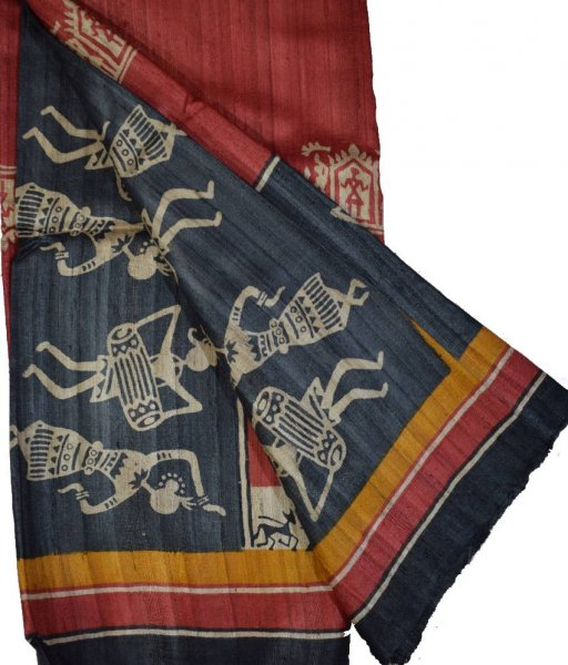 Maroon Tribal Painted Tussar Silk Saree