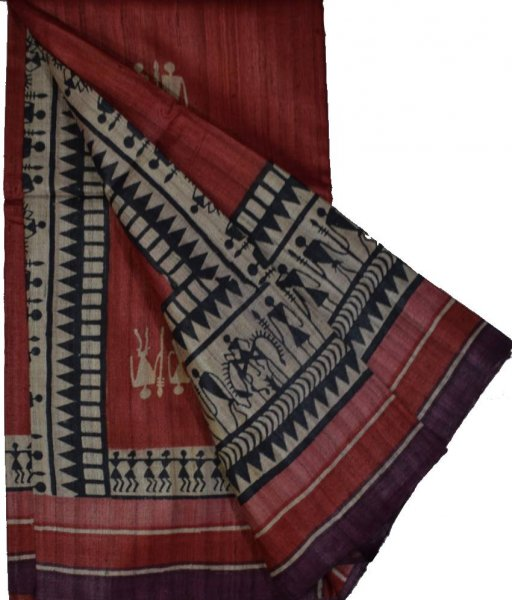 Maroon Pure Handloom Tussar Tribal Art Silk Saree