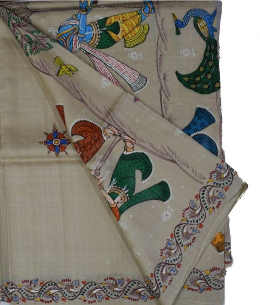 Pattachitra Handpainted Tussar Silk Saree