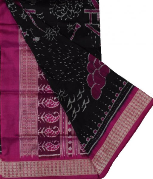 Black & Pink Tribal Design Sambalpuri Silk Saree