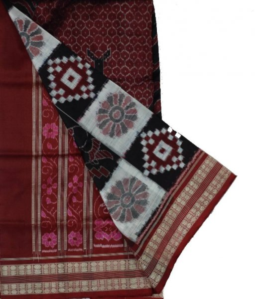 Big Fish Pattern Sambalpuri Silk Saree