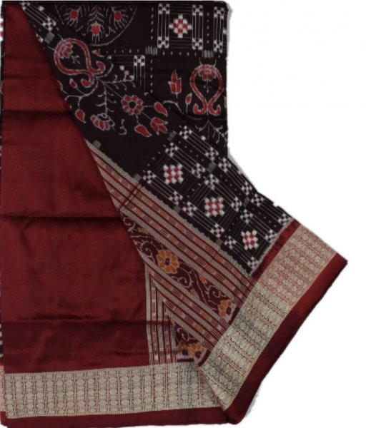 Brown Peacock Sambalpuri Silk Saree