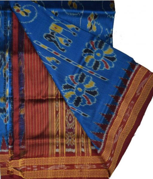 Blue Khandua Silk Saree