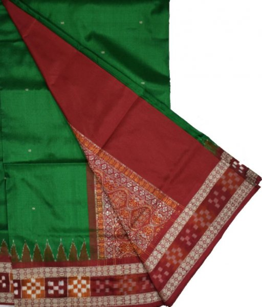 Green Bomkai Silk Saree