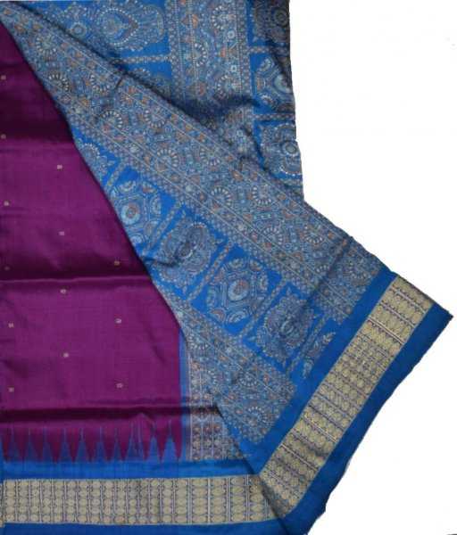 Purple & Sky Bomkai Patli Silk Saree