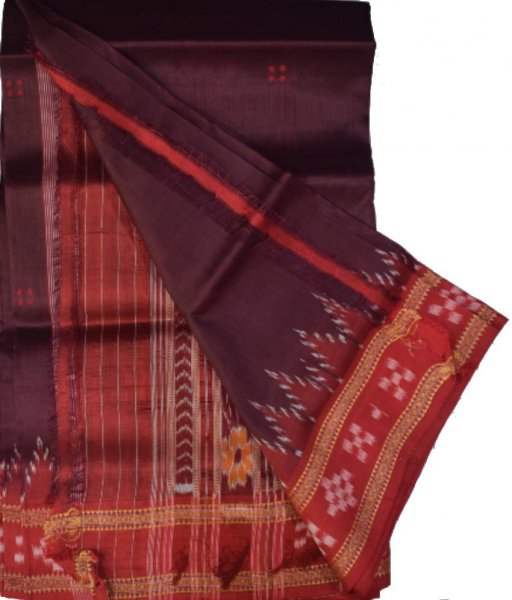 Brown Khandua Silk Saree