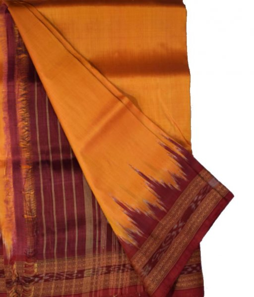 Orange Khandua Silk Maroon Kumbha Border Saree
