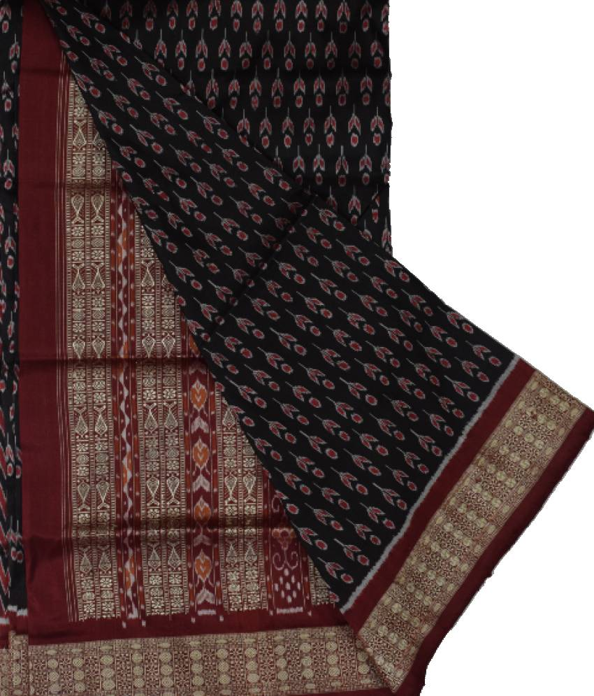 Maroon & Black Sambalpuri Silk Saree