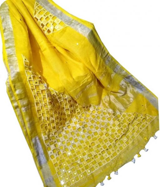 Yellow Linen Cut Work Saree