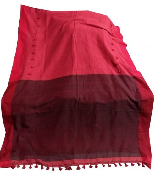Black & Red Kathi Pum Pum Saree