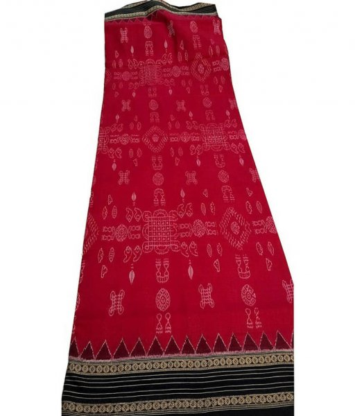 Red Sambalpuri Cotton Saree