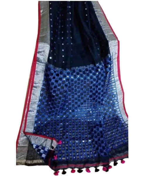 Black & Blue Linen Cut Work Saree