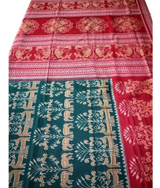 Green Red Sambalpuri ikat Saree