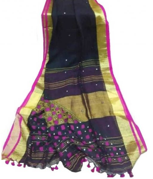 Black Cotton Silk Cut Work Saree