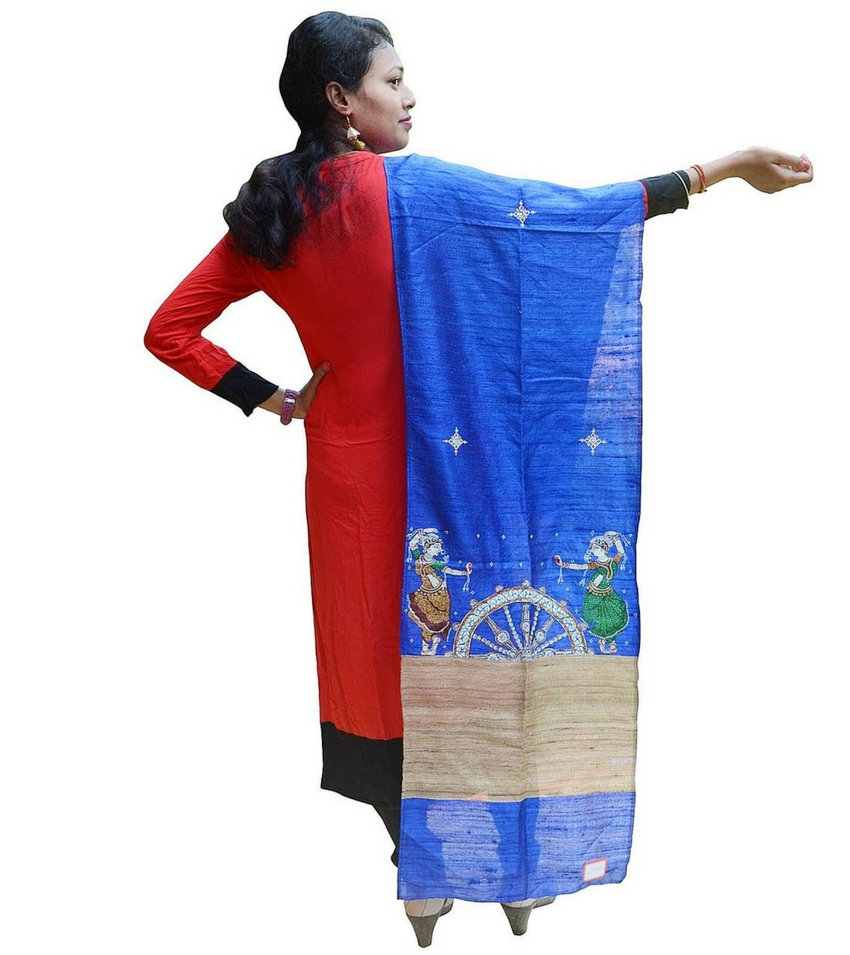 Hand Painted Blue Pattachitra Dupatta