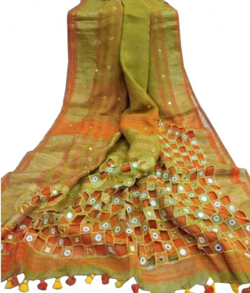 Green & Orange Cotton Silk  Cut Work Saree