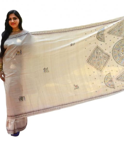 Cream Tussar Silk Saura Painting Saree