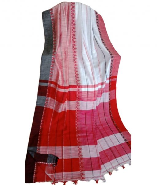 White & Red Khadi Cotton Saree