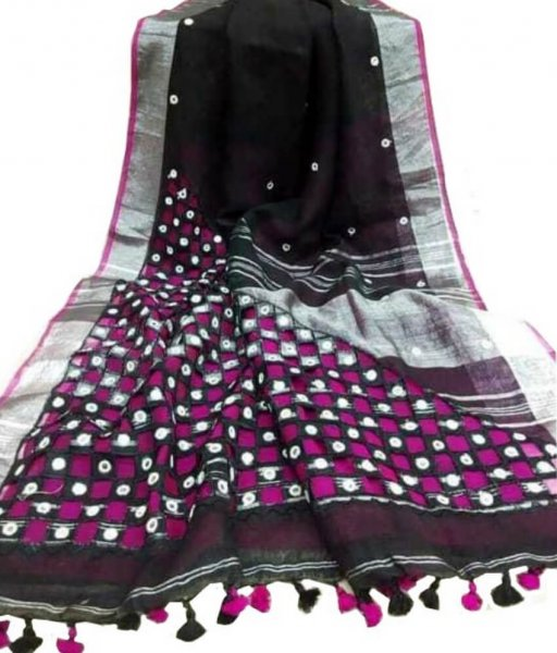 Black & Pink Cotton Silk Cut Work Saree