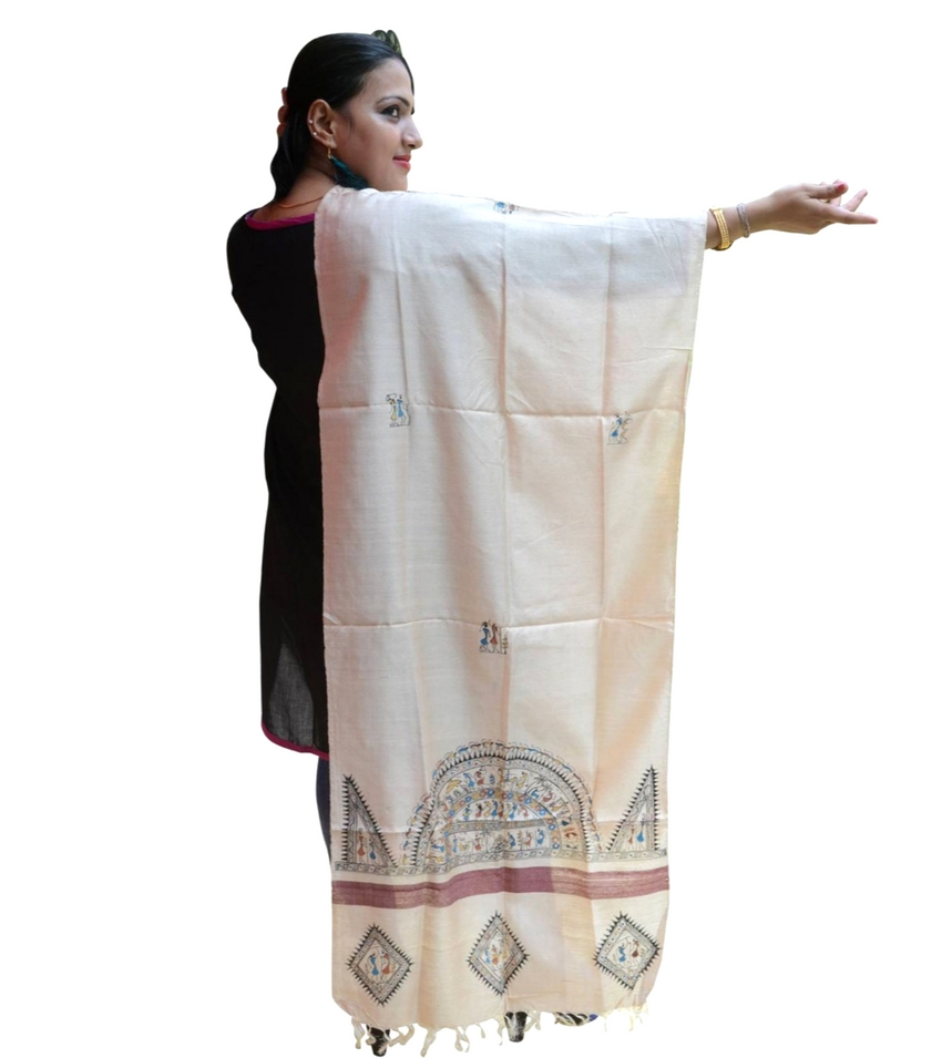 Hand Painted Tribal Art Dupatta
