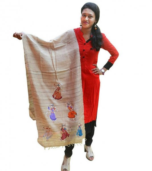 Pattachitra Painting Tussar Silk Dupatta