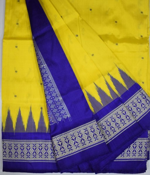 Lemon Yellow Bomkai Silk Saree