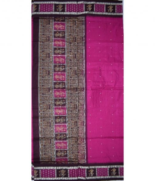 Purple Bomkai border putli Silk Saree