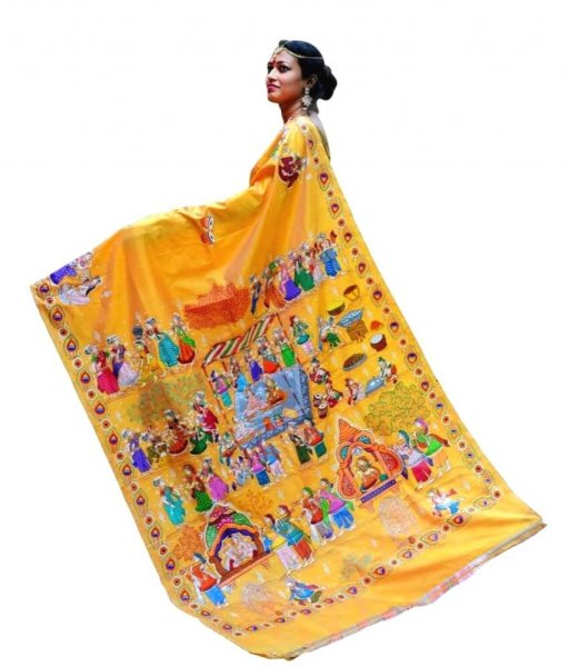 Yellow Pattachitra Saree