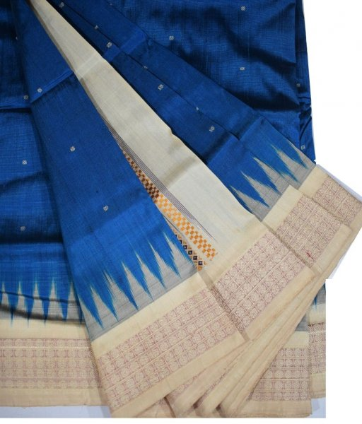 Blue Bomkai Ikat Silk Saree