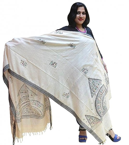 Pattachitra Handpainted Tribal Art Dupatta