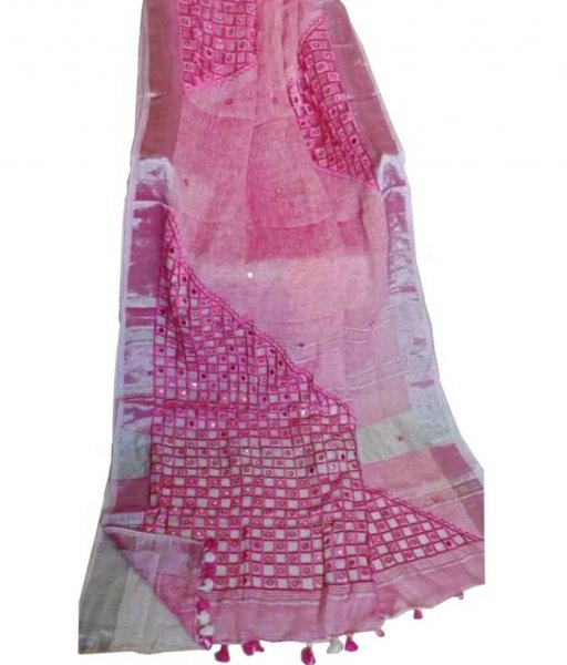 Pink Linen Cut Work Saree