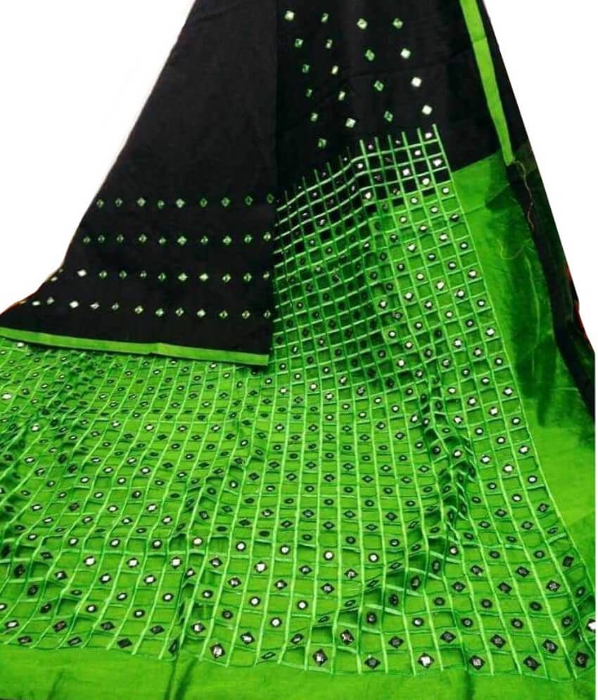Black & Green Cotton Silk  Cut Work Saree