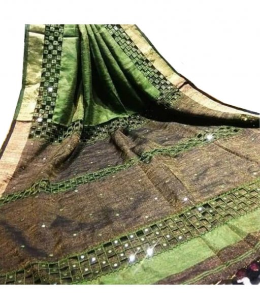 Green & Brown Linen Cut Work Saree