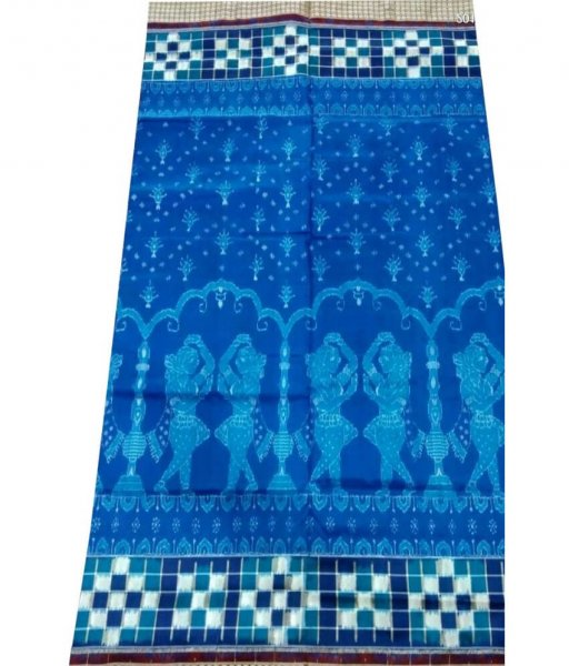 Blue Sambalpuri Pasapali Border Silk Saree
