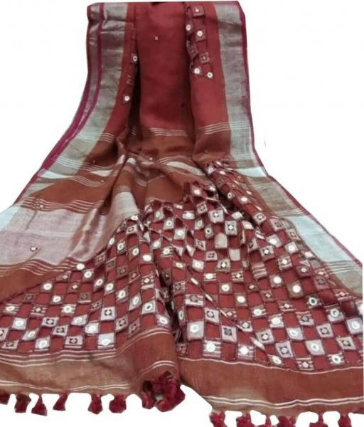 Maroon Linen Cut Work Saree