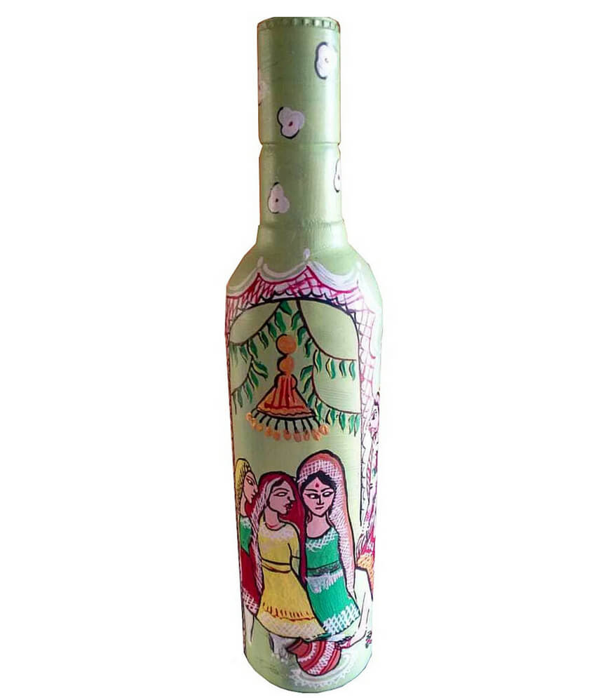 Indian Marriage Hand Painted Bottle