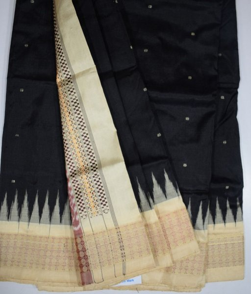 Black & Off-White Bomkai SIlk Saree