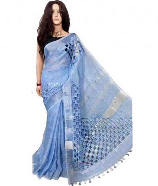 Linen Cut Work Saree